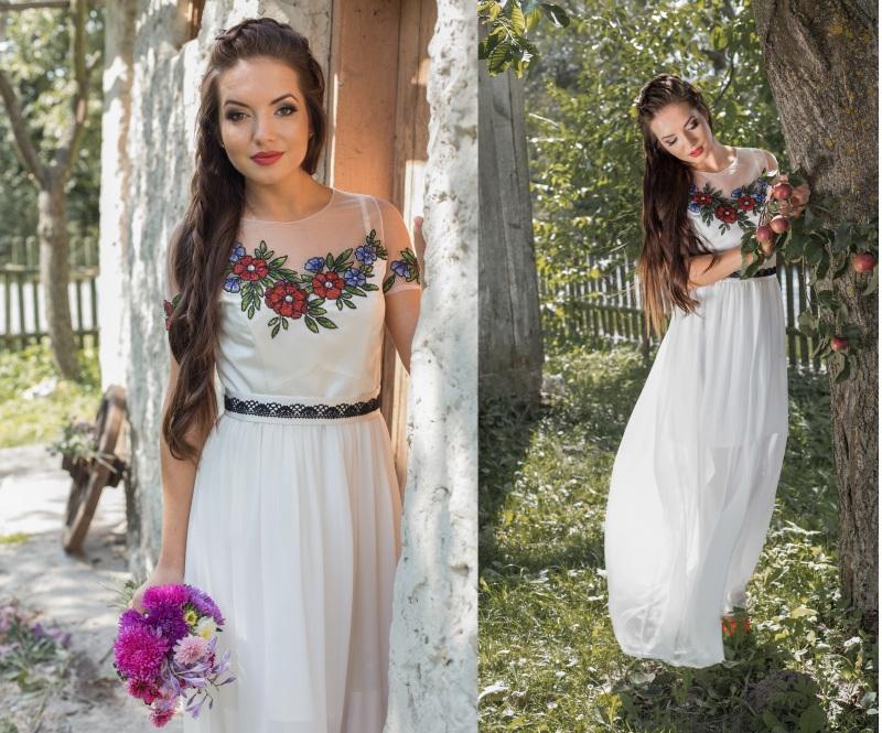 Платье Белый Шифон, матовый атлас, евр Цисецька Ирина - фото 1