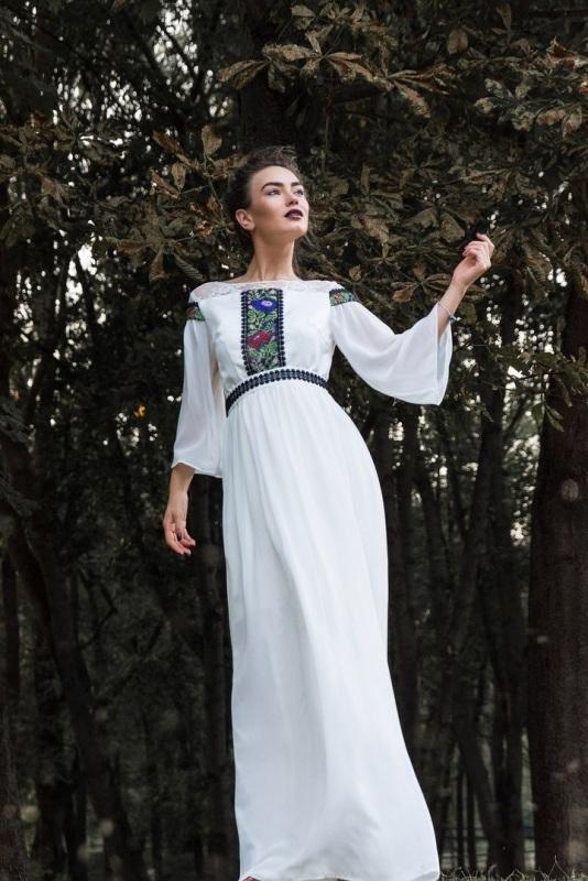 Платье 4 Белый Шифон, кружево, бисер. Цисецька Ирина - фото 1