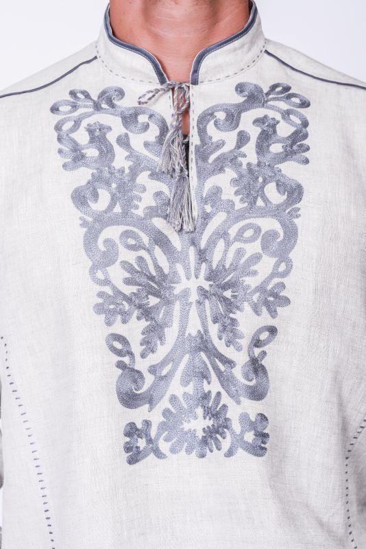 """Мужская рубашка """"Монохром"""" Белый Тонкий лен. Вишивка акрил Творческая мастерская Александры Телиженко - фото 2"""