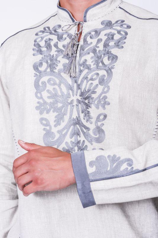 """Мужская рубашка """"Монохром"""" Белый Тонкий лен. Вишивка акрил Творческая мастерская Александры Телиженко - фото 4"""