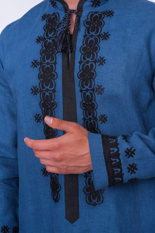 """Мужская рубашка """"Ноченька"""" Синий Натуральная ткань - лен. Творческая мастерская Александры Телиженко - фото 2"""