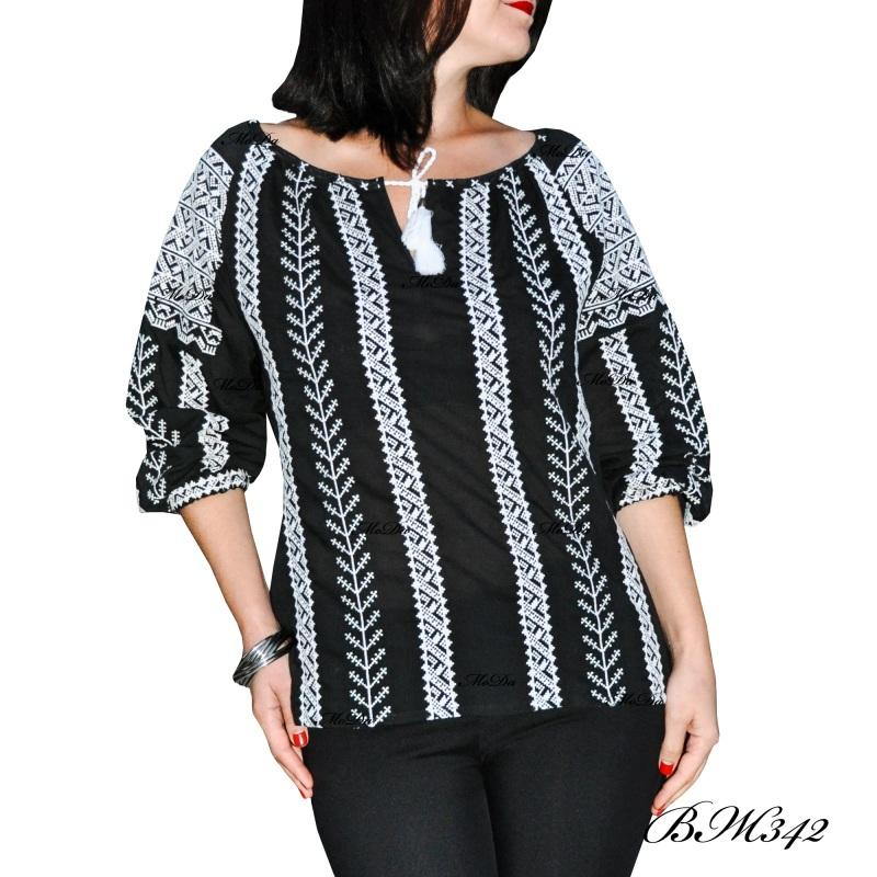 Рубашка с вышивкой крестиком ВЖ342 Черно-белый Лен Дизайн-студия «МоДа» - фото 3