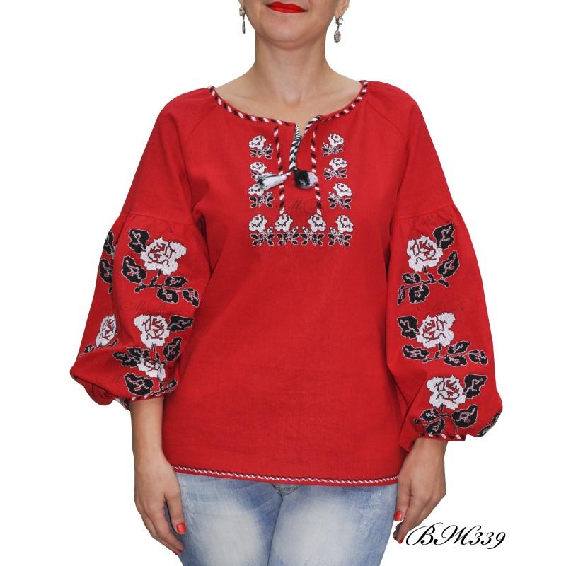 Рубашка с вышивкой ВЖ339 Красный Лен Дизайн-студия «МоДа» - фото 2
