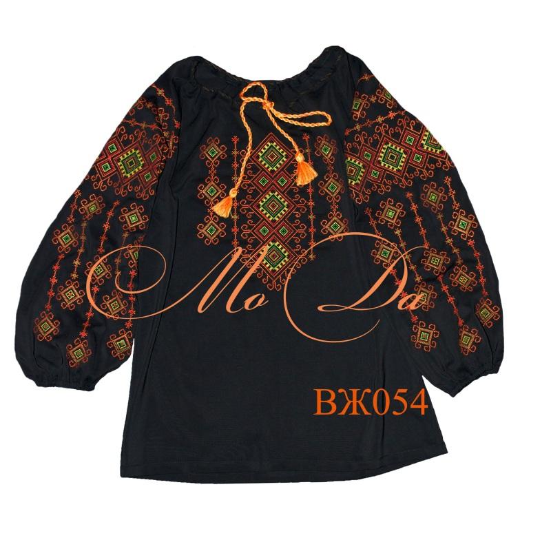 Рубашка с вышивкой крестиком ВЖ054 Черный Шифон Дизайн-студия «МоДа» - фото 1