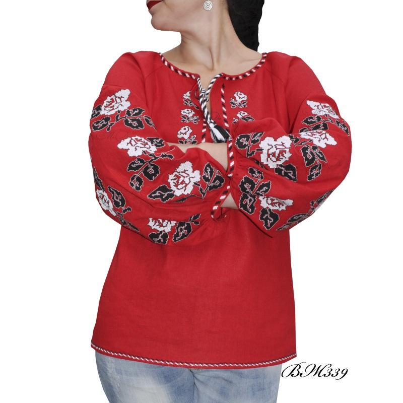 Рубашка с вышивкой ВЖ339 Красный Лен Дизайн-студия «МоДа» - фото 1