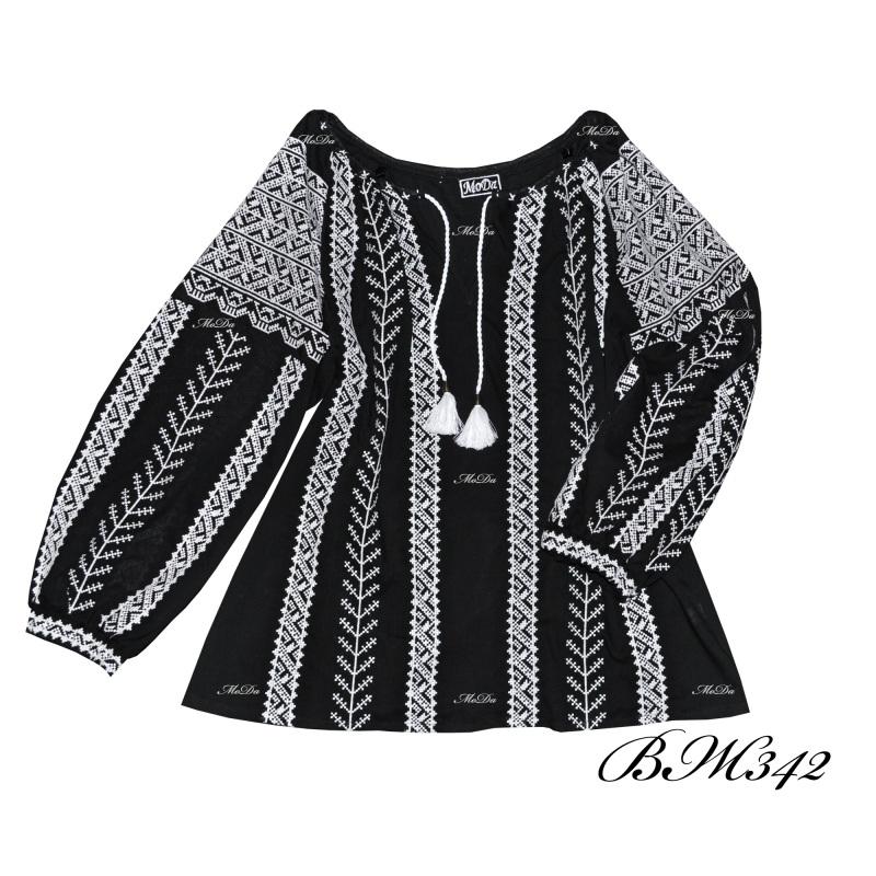 Рубашка с вышивкой крестиком ВЖ342 Черно-белый Лен Дизайн-студия «МоДа» - фото 1