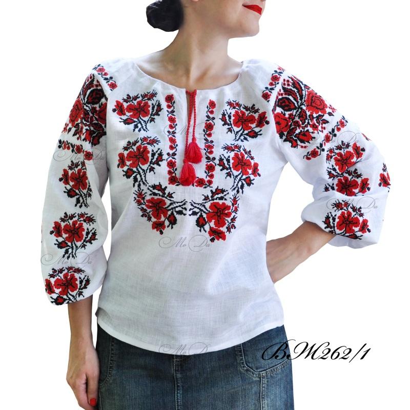 Рубашка с вышивкой крестиком ВЖ262/1 Белый Лен Дизайн-студия «МоДа» - фото 1