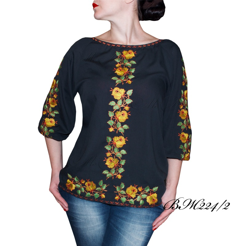 Рубашка с вышивкой ВЖ 224/2 Черный Хлопок Дизайн-студия «МоДа» - фото 1