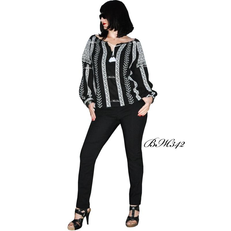 Рубашка с вышивкой крестиком ВЖ342 Черно-белый Лен Дизайн-студия «МоДа» - фото 2