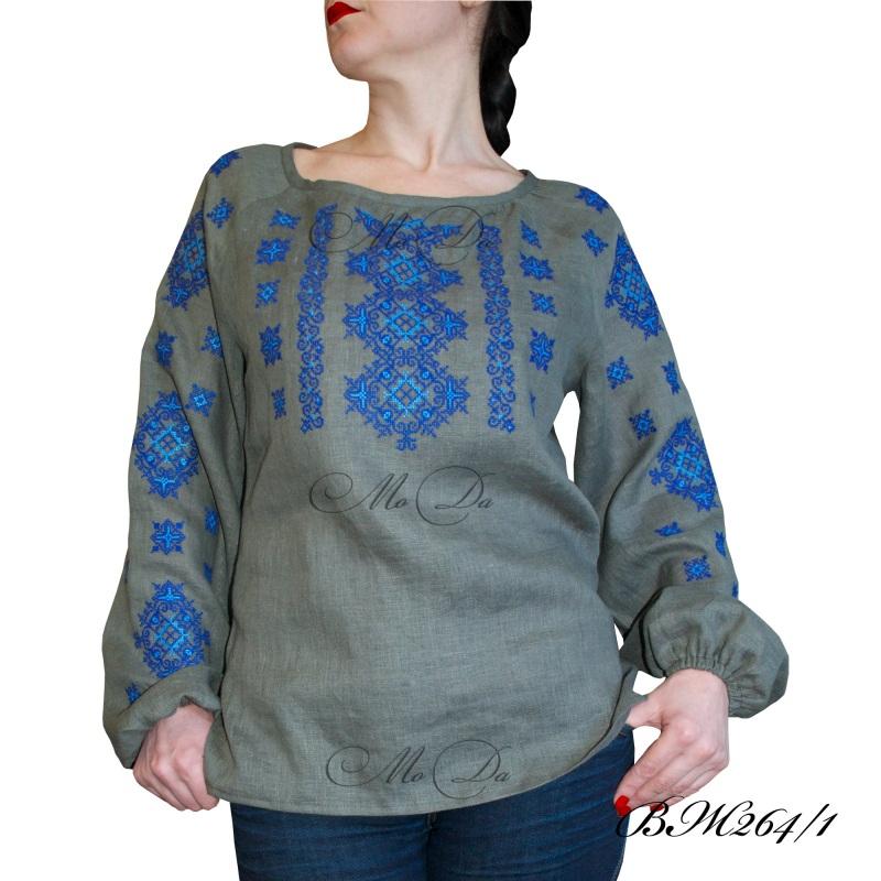Рубашка с вышивкой ВЖ264/1 Серый Лен Дизайн-студия «МоДа» - фото 1