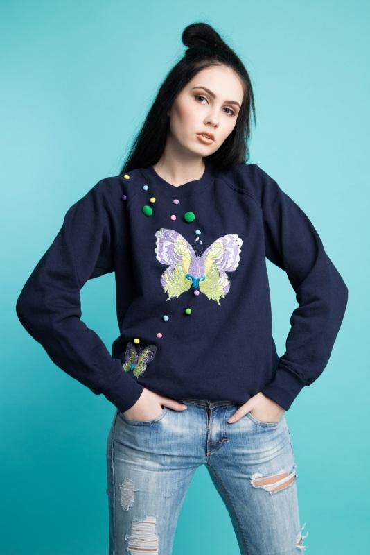 "Свитшот с вышивкой ""Butterfly"" Синий Котон-80%, эластан-20% Ukrlook - фото 1"