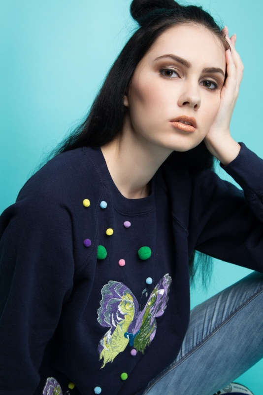 "Свитшот с вышивкой ""Butterfly"" Синий Котон-80%, эластан-20% Ukrlook - фото 3"