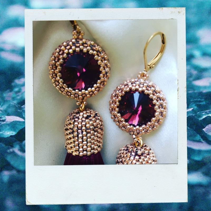Марсаловые Серьги-кисти  Красный Шелк, кристалл Swarovski, Ukrlook - фото 2