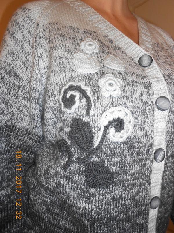 Кардиган мериносовой с аппликацией Серый шерсть мериносовая Токарева Инна - фото 2