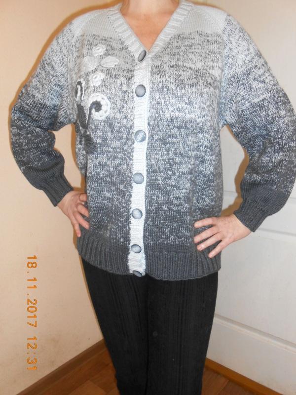 Кардиган мериносовой с аппликацией Серый шерсть мериносовая Токарева Инна - фото 3