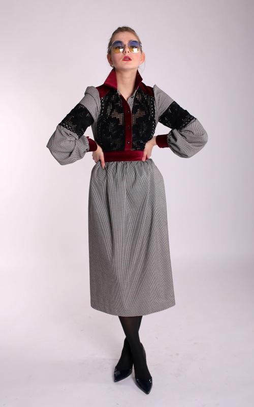 """Платье """"Мэри Поппинс"""" Серый платяная шерсть, бархат, Канич Юлия - фото 1"""