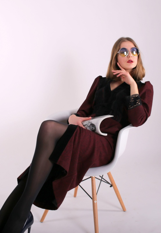 "Платье ""Аристократка бордо""  шерстяной твид, бархат, и Канич Юлия - фото 3"