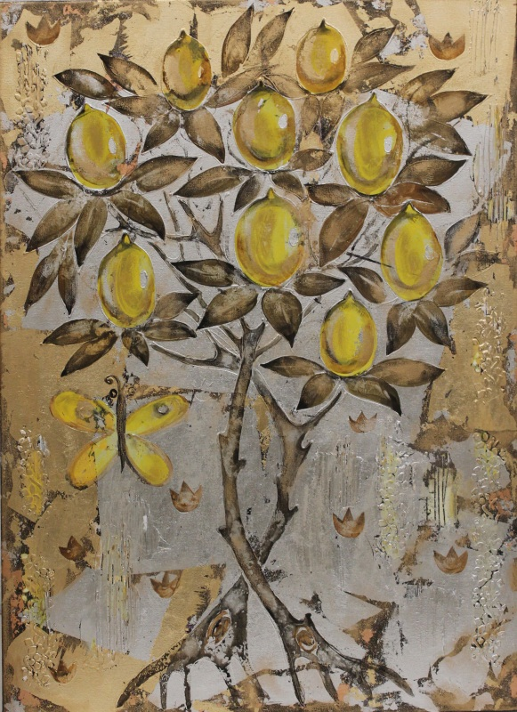 Золотой Лимон  холст, акрил, золотая и с Уварова Анна - фото 1