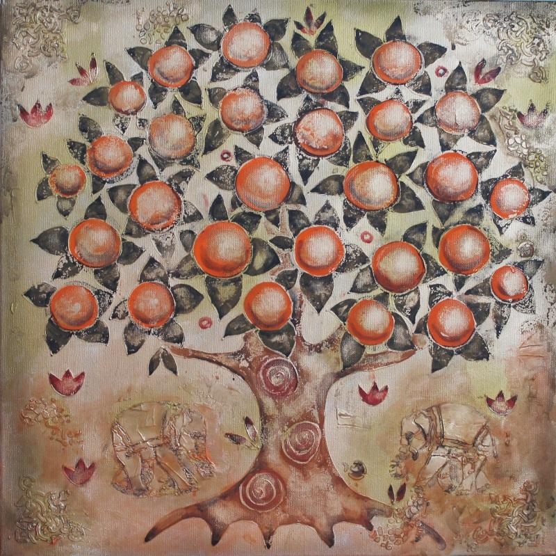 Мандариновое дерево  холст, смешанная техника Уварова Анна - фото 1