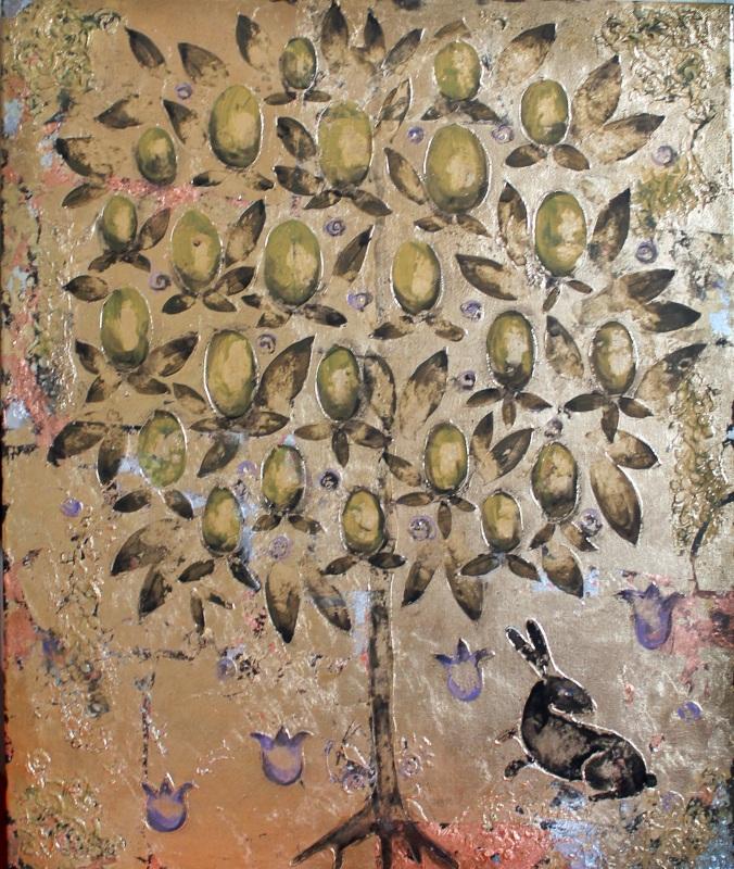 Оливковое дерево  холст, золотая поталь, ак Уварова Анна - фото 1