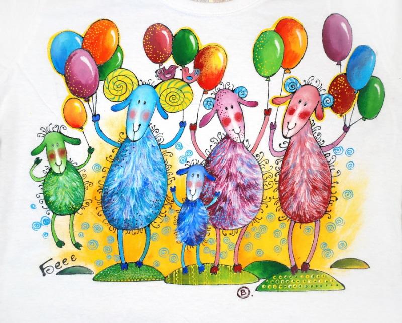 """Футболка женская """"Овечки с воздушными шариками""""  хлопок, ручная роспись по Вакуленко Алеся - фото 2"""