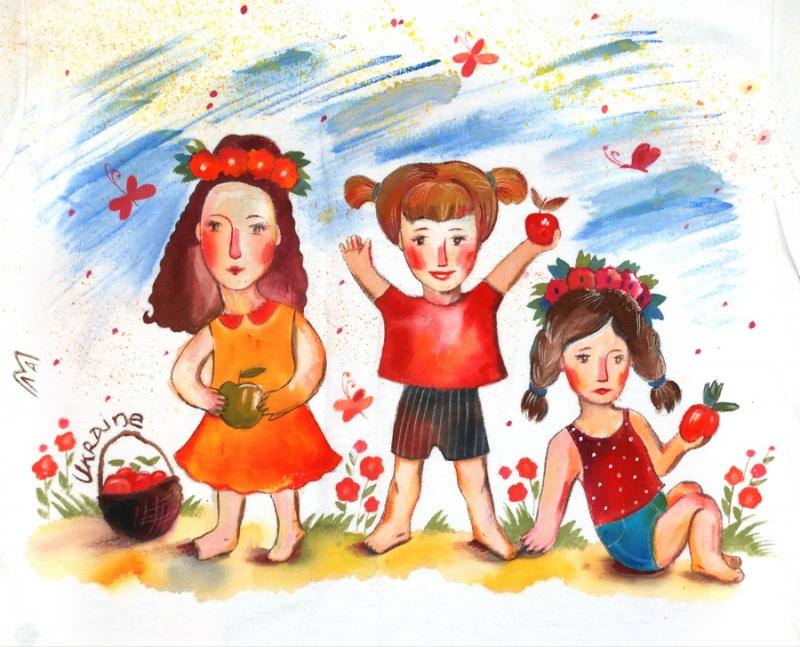 """Футболка детская """"Девочки с яблоками""""  хлопок, ручная роспись по Вакуленко Алеся - фото 2"""