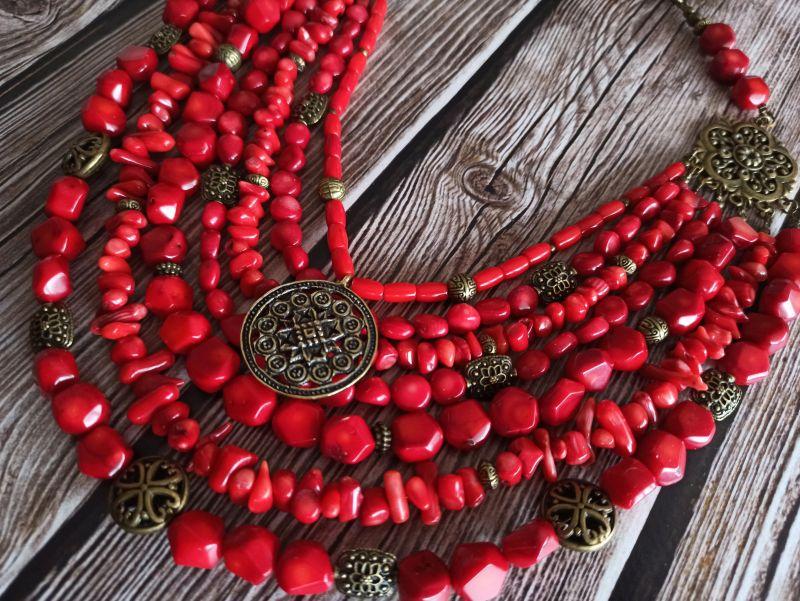 Коралловое ожерелье Красный натуральный коралл, кулон Василенко Елена - фото 1