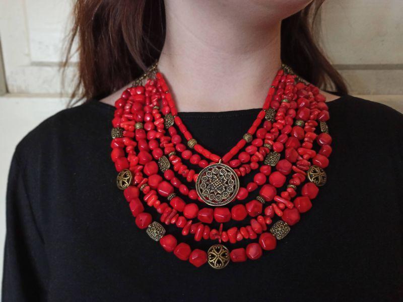 Коралловое ожерелье Красный натуральный коралл, кулон Василенко Елена - фото 3