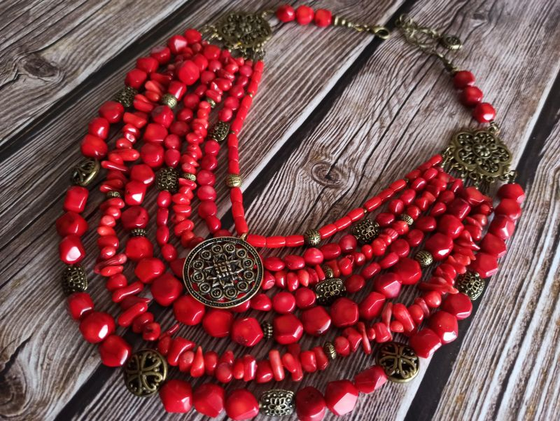 Коралловое ожерелье Красный натуральный коралл, кулон Василенко Елена - фото 2