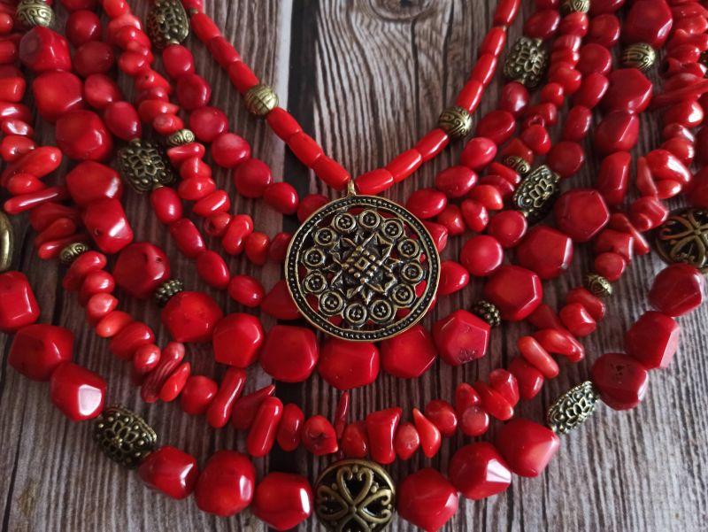 Коралловое ожерелье Красный натуральный коралл, кулон Василенко Елена - фото 4