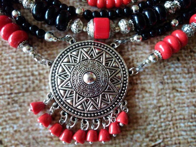 Ожерелье Колдунья Разноцветный индийские стеклянные буси Василенко Елена - фото 4