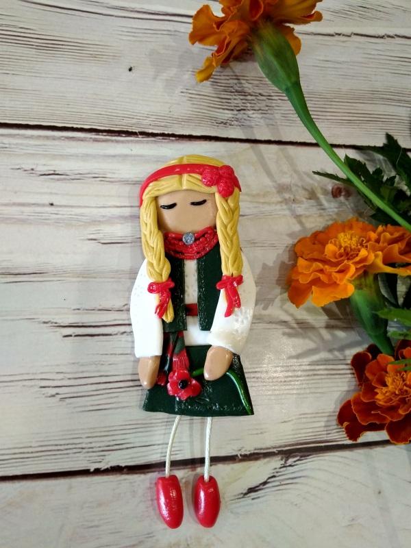 Брошка Слобожаночка Красный Брошь сделана из запекаем Василенко Елена - фото 1