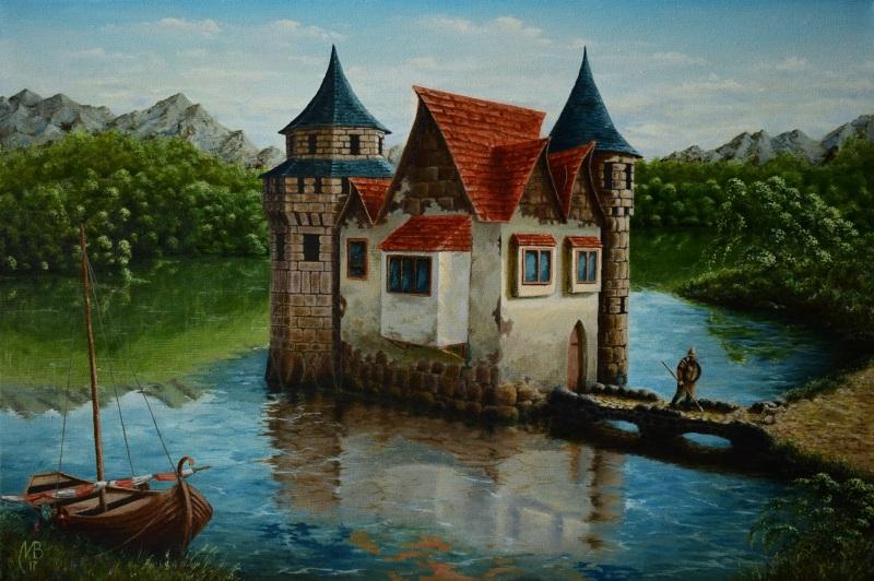 Border castle  холст, масло Великий Николай - фото 1