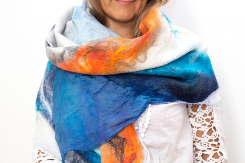 Закат Аризоны Разноцветный Шерсть меринос, шелк, вол Винокурова Елена - фото 1
