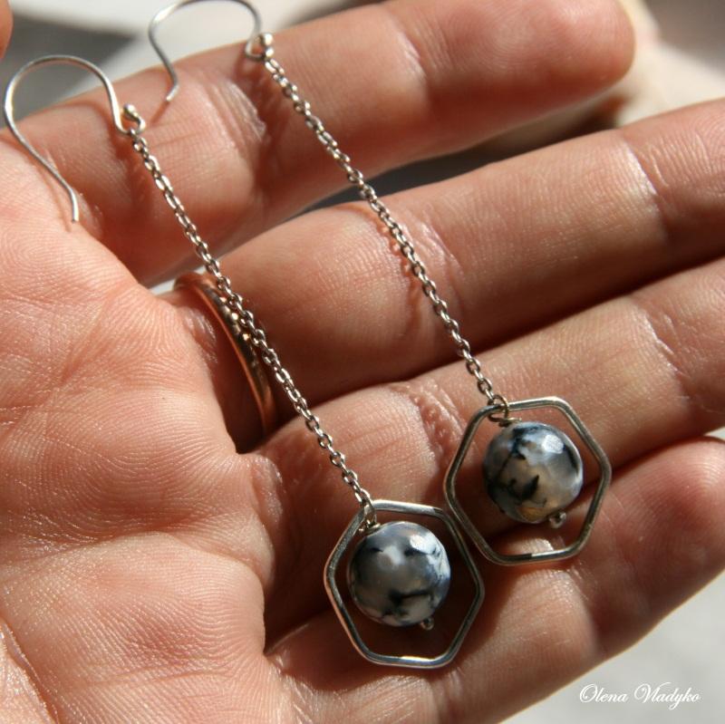 Серебряные серьги с агатом Белый Серебро 925, агат Владыко Елена - фото 3