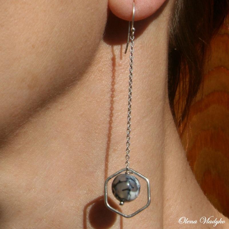 Серебряные серьги с агатом Белый Серебро 925, агат Владыко Елена - фото 4