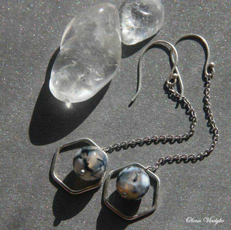 Серебряные серьги с агатом Белый Серебро 925, агат Владыко Елена - фото 2