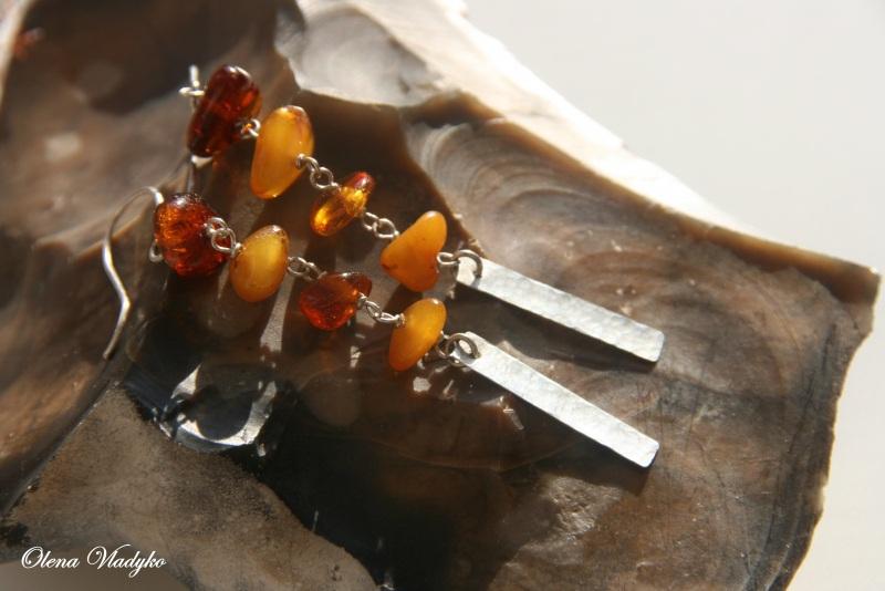 Серебряные серьги с янтарем Желтый Серебро 925, янтарь Владыко Елена - фото 4