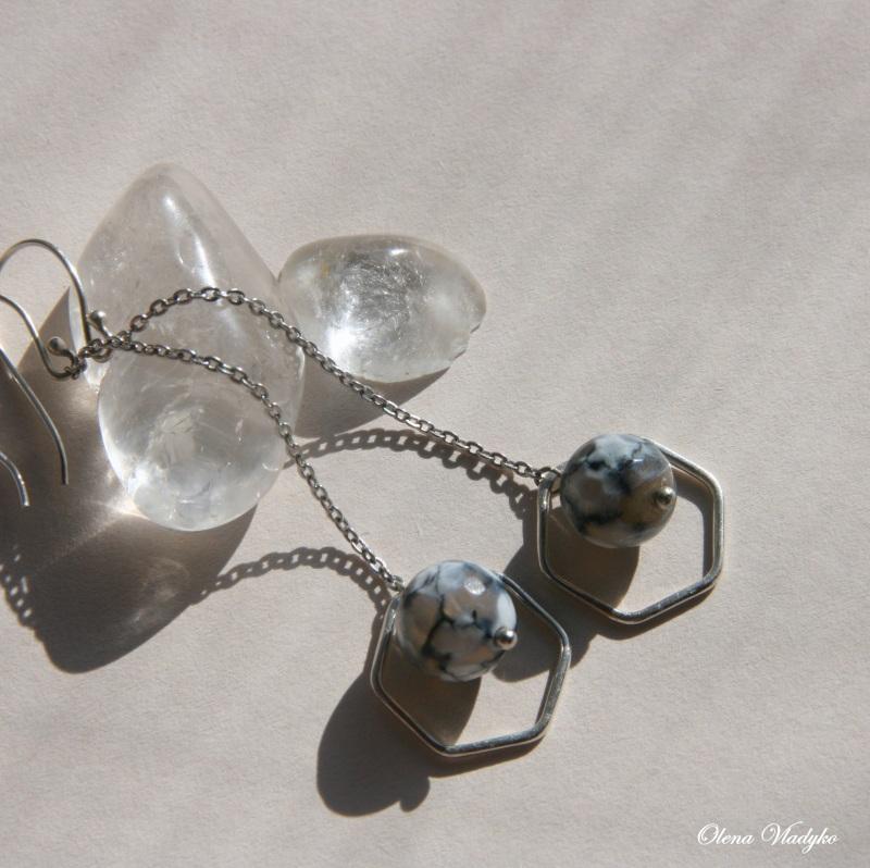 Серебряные серьги с агатом Белый Серебро 925, агат Владыко Елена - фото 1