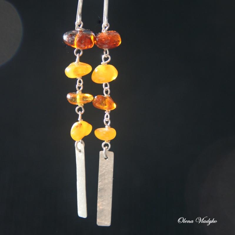 Серебряные серьги с янтарем Желтый Серебро 925, янтарь Владыко Елена - фото 5
