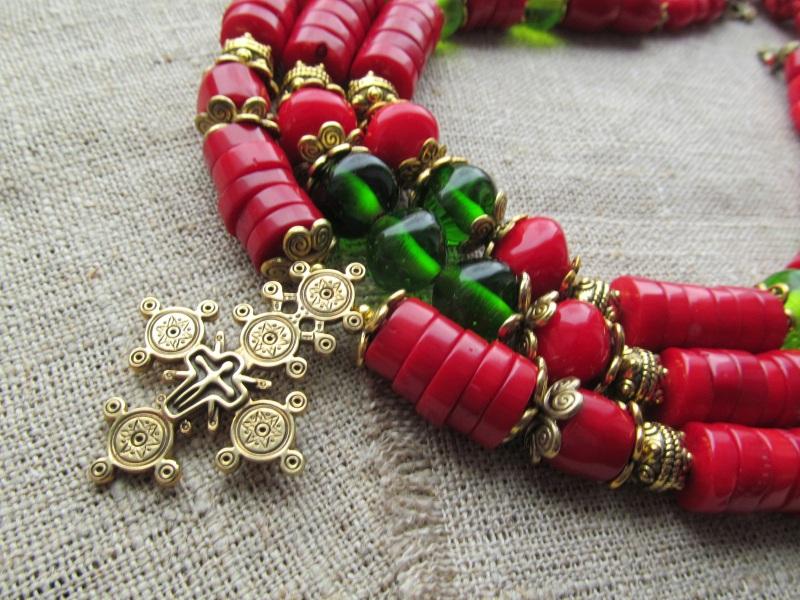 Ожерелье Красный Натуральный коралл. Стекл Волошин Ирина - фото 2