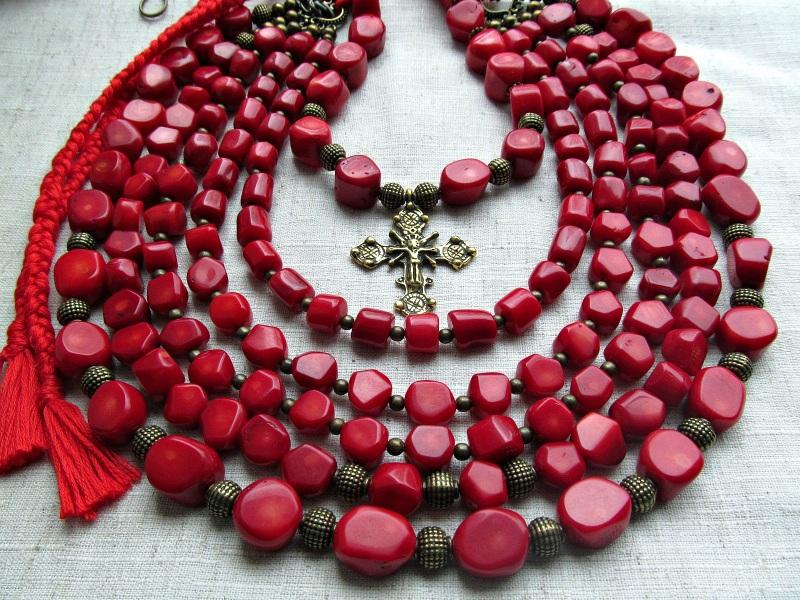 Украинское ожерелье  коралл, латунь Волошин Ирина - фото 1