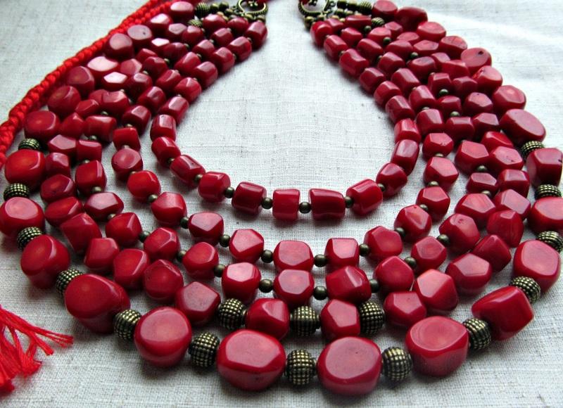 Украинское ожерелье  коралл, латунь Волошин Ирина - фото 2