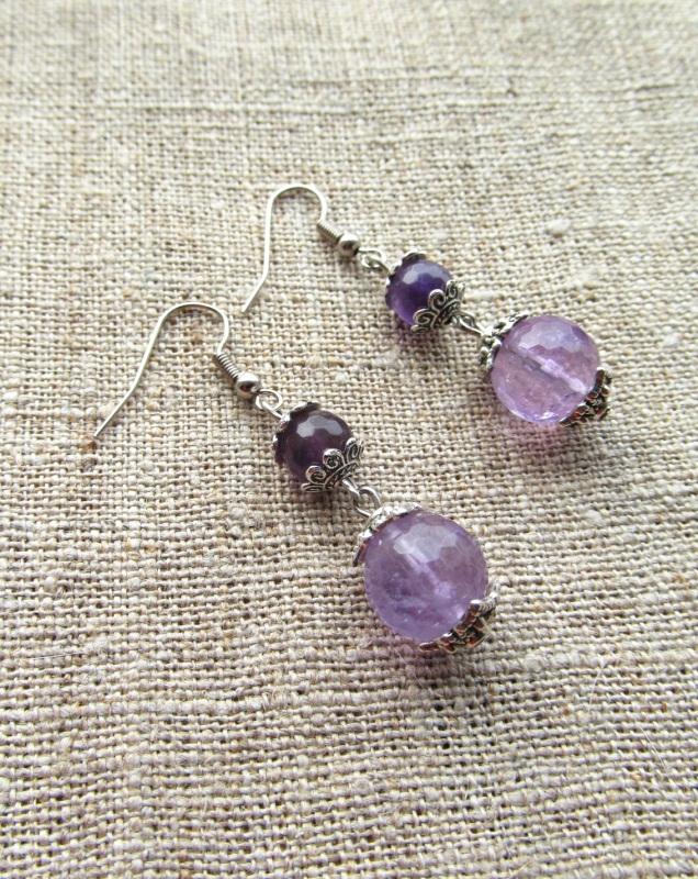 Серьги Фиолетовый аметисты-12 мм, длина - 3 Волошин Ирина - фото 2
