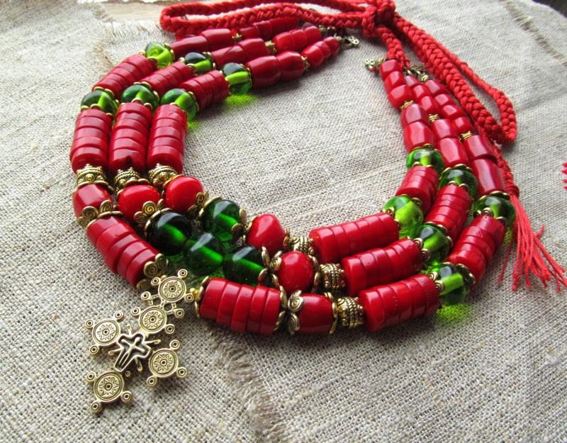 Ожерелье Красный Натуральный коралл. Стекл Волошин Ирина - фото 1
