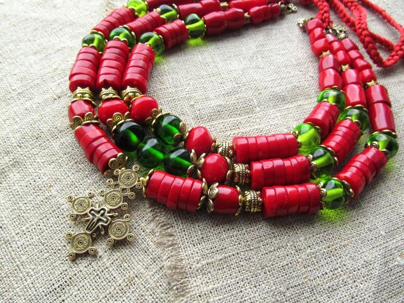 Ожерелье Красный Натуральный коралл. Стекл Волошин Ирина - фото 3