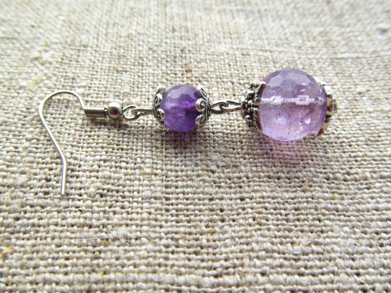 Серьги Фиолетовый аметисты-12 мм, длина - 3 Волошин Ирина - фото 1