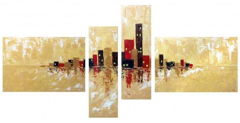 Золотой мегаполис  холст на подрамнике, акри Воронцова Ольга - фото 1