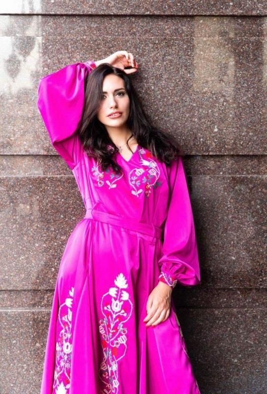 Вишита сукня - малиновий рай Розовый натуральна  тканина - льо Вышиванка Елена - фото 1