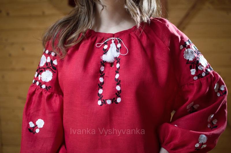 М0334 Красный лен 100% Вышиванка Иванка - фото 2